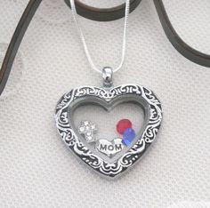 Mom Heart Necklace, Mom Heart Locket, Mom Cross Necklace, Birthstone Necklace, 1 2 3 4 5 6 Birthstones, Gifts for Moms, Kids Birthstones