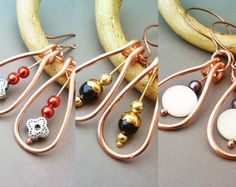 Set of 3 Wire Wrapped Copper Earrings - Handmade Copper Earrings - Copper Jewelry - wire wrapped jewelry handmade