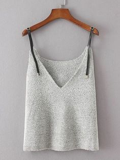 Contrast PU Strap Knit Cami Top - Romwe Contrast PU Strap Knit Cami Topone-size Source by - ideas for women Summer Knitting, Knitted Tank Top, Knit Fashion, Cami Tops, Top Pattern, Crochet Clothes, Knitting Patterns, Knitting Ideas, Knitwear