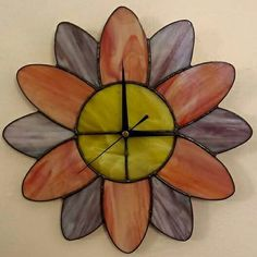 Flower wall clock in peach and purple