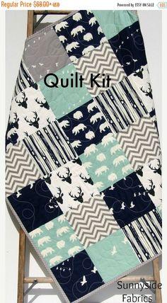 Quilt Kit Woodland Boy Rustic Navy Blue Mint by SunnysideFabrics