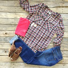 """Red & navy plaid v-neck- $39.99  #FlyingMonkey basic boyfriend- $69.99  #BedStu #Diaz #Sandal- $109.99  #PinkPanache #Necklace- $44.99  #shopdcs #shoplocal #instashop  We #ship! Call us to order! 903.322.4316!"" Photo taken by @daviscountrystore on Instagram, pinned via the InstaPin iOS App! http://www.instapinapp.com (09/10/2015)"