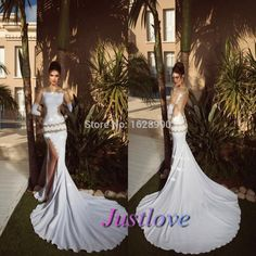 Find More Prom Dresses Information about 2014 Sexy White Sheer Long Sleeve Prom Dresses With Gold Lace Luxury Bling Beads High Side Slit Court Train Satin Evening Gowns,High Quality prom,China prom dresses bridesmaid dresses Suppliers, Cheap prom dress gothic from Justlove international wedding dress Ltd. on Aliexpress.com