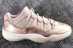 ce962b1a7eaff4 The Air Jordan 11 Low GS Rose Gold is featured in a closer look and it s  dropping at Jordan Brand stores on April