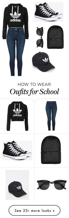 """School outfit"" by gramajo-ashley on Polyvore featuring Topshop, J Brand, Converse, Rains and adidas"