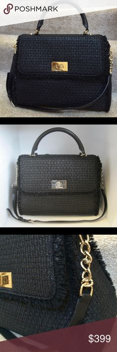 Friday Sale‼️NWT Tuxedo Hill Kate Spade Bag This black Italian chunky wool tweed bag is a must! Gold hardware with clasp closure and roomy inside! Comes with handle and additional buckled shoulder strap! New with tags with original retail of $475! Comes with stuffing and original dust bag inside still! Dimensions are approximately 15 inches wide and 12 inches tall! Reasonable offers accepted! kate spade Bags Satchels