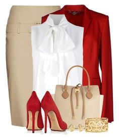 """""""Red, Nude & White For the Office"""" by brendariley-1 ❤ liked on Polyvore featuring Alexander McQueen, STELLA McCARTNEY, Victoria Beckham, Michael Kors, Charlotte Olympia, Tiffany & Co. and Kate Spade"""