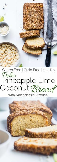 Paleo Pineapple Coconut Lime Bread - This healthy, paleo pineapple bread is a gluten, grain and dairy free summer treat! Complete with macadamia streusel, this will be a crowd pleaser!   Foodfaithfitness.com   @FoodFaithFit