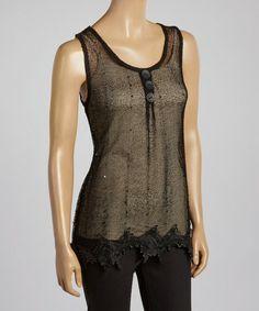 Look at this #zulilyfind! Black Mesh & Lace Silk-Blend Tank #zulilyfinds