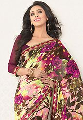It is color this season and bright shaded suits are really something that is totally in vogue. This multicolor faux georgette saree is nicely designed with flower print and graceful patch border. Saree gives you a singular and dissimilar look. Matching blouse is available. Slight color variations are possible due to differing screen and photograph resolution.