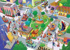 illustration of puzzle, city, scene, cartoon