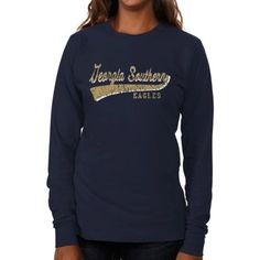 Georgia Southern Eagles Ladies All-American Secondary Long Sleeve Slim Fit T-Shirt - Navy Blue