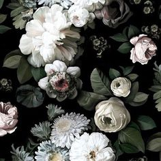 In our dreams, all of our walls are covered with this 'Dark Floral' wallpaper by @elliecashmandesign. Probably the prettiest wallpaper ever.
