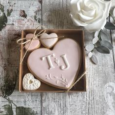Little box of love personalised heart cookies wedding favours