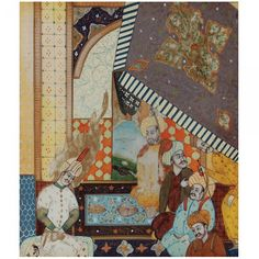 """Miniatura de pintura em marfim com representação """" Cena de Interior """". Índia. Séc. XIX. 11 x"""