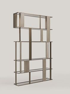 Shakedesign_Bookcases_Dall hanging bookcase with light bronze metal structure, T49 cenere and bronze glass Tv Wall Design, Bookshelf Design, Bookcase Shelves, Glass Shelves, Display Shelves, Wall Shelves, Shelving, Corner Shelves, Floating Shelves