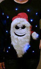 SKELETON SANTA - JACK - THE PUMPKIN KING - LIGHT UP - UGLY CHRISTMAS SWEATER