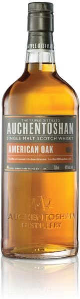 Auchentoshan American Oak: This award-winning, triple- distilled, single malt Scotch whisky is refreshingly smooth, yet lively. Flavors of vanilla cream, coconut and white peach play on the tongue and flow into a crisp finish with hints of sugared grapefruit and spice. – Distiller's Notes