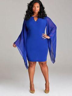 "148242835ed ""Simone"" Chiffon Sleeve Party Dress - Royal Blue - What s New - Monif C. Plus  Size ..."