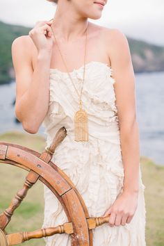 Wedding dress: Lindee Daniel - Nautical Wedding Inspiration from Rebecca Arthurs Photography + Opihi Love Boutique Rentals & Event Design