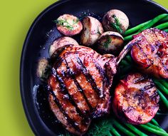 Grilled Honey Garlic Pork with Peaches - a delicious twist on peaches #Recipe