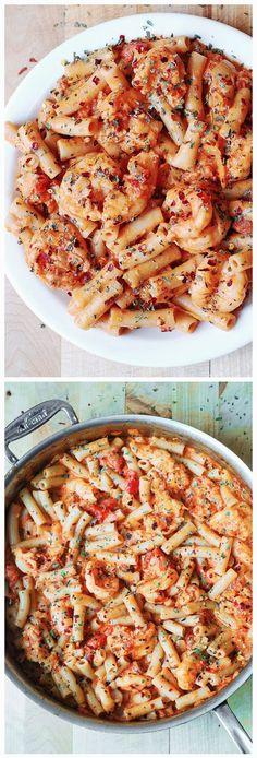Spicy Shrimp Pasta in Garlic Tomato Cream Sauce ~ Eat to death