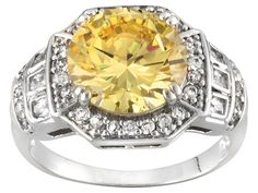 Bella Luce (R) 7.22ctw Canary Yellow And White Diamond Simulant Rhodium Plated Sterling Silver Ring