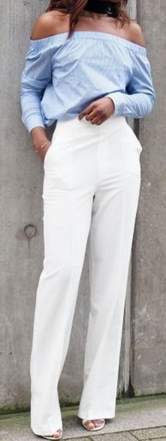 #spring #street #style #outfit #ideas | Blue OTS Top + White Pants