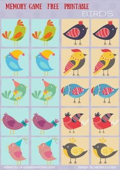 Train your kids memory with this adorable set up animal memory matching game. You can find cards grouped by animals, farm, birds and bees. Free Preschool, Kindergarten Activities, Preschool Activities, Cognitive Activities, Toddler Learning Activities, Free Games For Kids, Memory Games For Kids, Animal Crafts For Kids, Bird Theme
