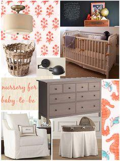 coral, grey, navy nursery inspiration