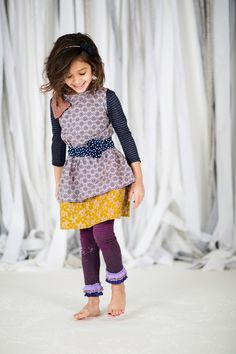 Purple Vintage Print Girl's Dress with an oversized bow at the shoulder and a polka dot rosette belt, holiday outfit, sizes 12mos - 9/10. $56.00, via Etsy.