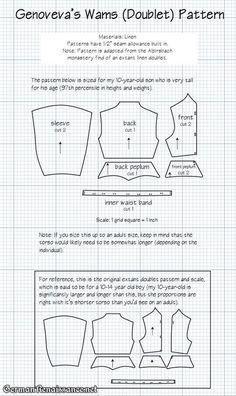 Wams (Doublet) Pattern based on the extant linen doublet from Alpirsbach (German) | GermanRenaissance.net