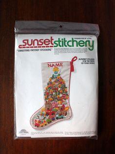 Sunset Stitchery Christmas Fantasy Stocking Crewel by LifesAYoyo