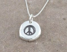 Peace Sign Necklace,Organic Rustic Recycled Sterling Silver Jewelry/FREE SHIPPING