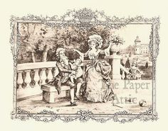 Happy Georgian Family with Baby in Garden Antique French Lithograph | eBay