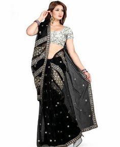 Buy Scintillating Black Party Wear Saree [ADF33760] at $50.88