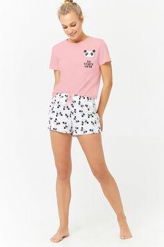 Product Name:Pyjama met Panda Graphic Category:intimates_loungewear - Loungewear - Ideas of Loungewear Cozy Pajamas, Girls Pajamas, Pajamas Women, Womens Summer Pajamas, Pyjamas, Satin Pyjama Set, Pajama Set, Pajama Outfits, Cute Outfits