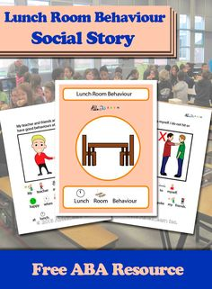 The free social story goes over the rules for good lunch room behaviour.  A parent can read this social story to students to teach their child of rules and expectations of lunch room behaviour, this story can be used at school by a teacher or Teaching Assistant. #Aba #Resources #Autism #LifeSkills #SpecialNeeds #ABAresources #AutismEducation #SocialStory