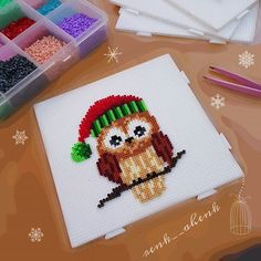 Christmas owl hama mini beads by renk__ahenk Easy Perler Bead Patterns, Perler Bead Art, Plastic Canvas Ornaments, Plastic Canvas Christmas, Christmas Perler Beads, Hama Mini, Beading For Kids, Hama Beads Design, Christian Crafts