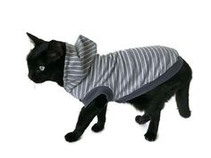 Gray Striped Cat Hoodie -Cat Clothes-Cat Shirt-Sleeveless Cat Hoodie-Cat Clothing-Cat Sweater-Clothes for Cats - Cat Hoodies-Shirts for Cats by RockinDogsCoolCats on Etsy https://www.etsy.com/listing/523897869/gray-striped-cat-hoodie-cat-clothes-cat