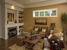 Image result for wall color ideas for living room with brown furniture
