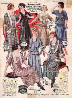 1920s Day / House Dresses and Aprons- All cotton dresses from 1923. Gingham, plaid, solid colors were very popular. Wide and long collars and big sashes around the waist were the style of early 20s dresses.  Learn more history : http://www.vintagedancer.com/1920s/1920s-day-house-dresses-aprons/
