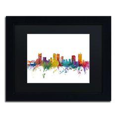 Michael Tompsett 'Fort Worth Texas Skyline' Matte, Framed Canvas Wall Art