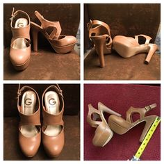 Brand new Guess taupe/tan size 7.5 heels Brand new taupe/tan closed toe strap size 7.5 heels. Absolutely beautiful and pretty comfortable. They look fabulous with maxi, midi, mini dresses/skirts, skinny jeans or dressy pants. Could fit size 7.5-8. You can wear them all year long paired up with your favorite outfit. They're not a narrow shoe and won't pinch your piggies if worn for more than a few hours. G by Guess Shoes Heels