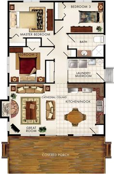 omit bedroom 2, make great room & master room both slightly larger, add stairs to basement in between & build over full walkout basement.