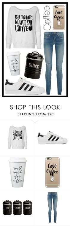 """""""#347 coffee"""" by xjet1998x ❤ liked on Polyvore featuring adidas, Casetify, Typhoon and Yves Saint Laurent"""