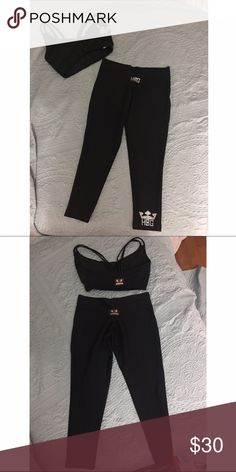 Sexy workout wear ✨SALE✨Hardcore Gear high quality workout wear.  Matching  set black logo Capri with crystal logo and zipper sports bra top. Can be purchased separate or save  $ together. HardCoreGear Other