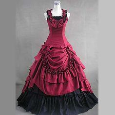Elegante senza maniche pavimento-lunghezza rosso vestito di cotone Lolita Aristocrat – EUR € 94.87