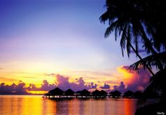 sunset in the Islands of Tahiti