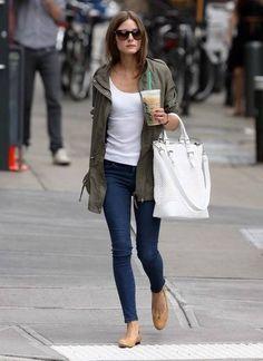 Olivia Palermo - skinnies, cargo jacket, ballet flats. Comfy.